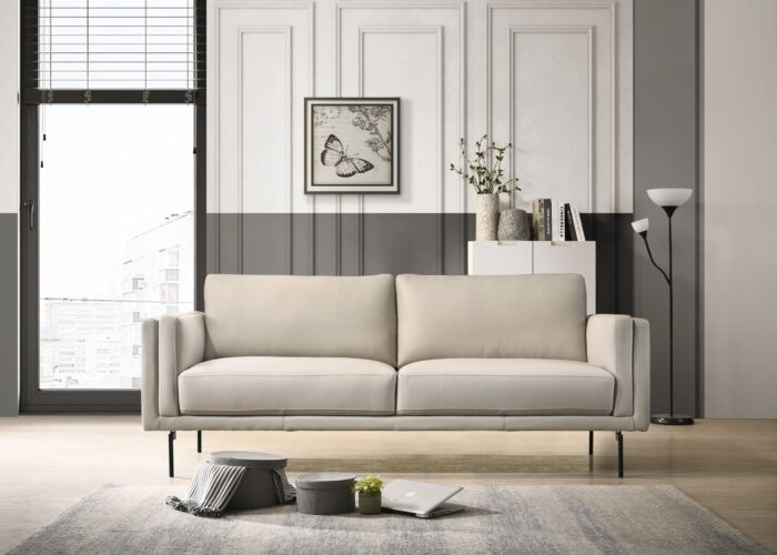 2 Seat Sofa Light Grey Stainless Steel Legs