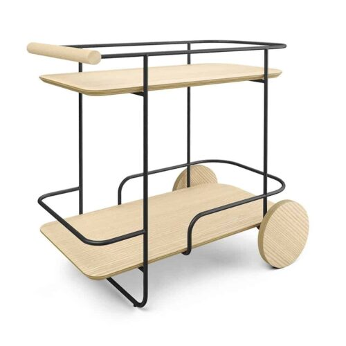 Arcade bar cart black frame with ash blonde wood by Gus Modern