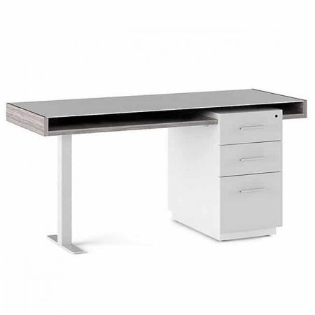 BDI Duo Pedestal Desk with Filing Cabinet Platinum & Satin Grey