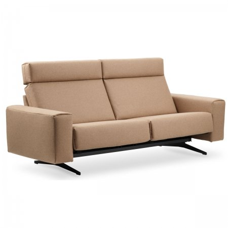 Stressless Bella 2 Seat Sofa in Black Legs Calido Beige Fabric