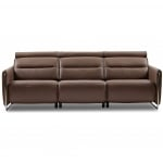 Stressless Emma 3 Seat Sofa in Chestnut Leather and chrome legs