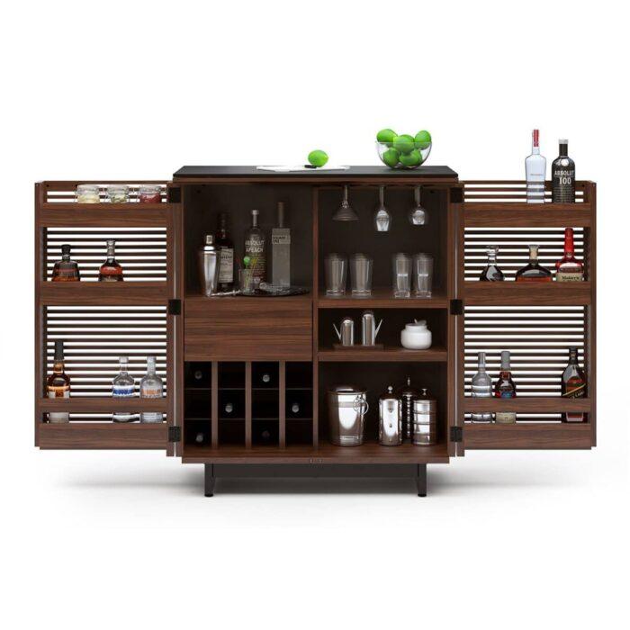 corridor 5620 BDI contemporary bar storage chocolate walnut